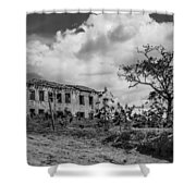 Old House And Cows - Bw Shower Curtain by Fabio Giannini