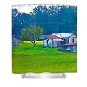 Old House And Harvest Time Shower Curtain