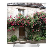 Old House Covered With Roses Shower Curtain