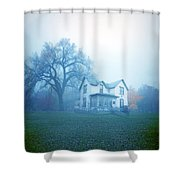 Old House In Fog Shower Curtain