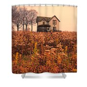 Old House In Weeds Shower Curtain