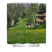 Old House On The Green Field Shower Curtain