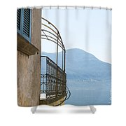Old House With Lake View Shower Curtain