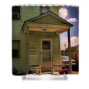 Old Houses - New Jersey - In The Oranges - Green House With Flower Pots And Rocking Chairs - Color Shower Curtain
