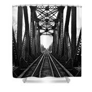 Old Huron River Rxr Bridge Black And White  Shower Curtain