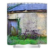 Old Irish Cottage With Bike By The Door Shower Curtain