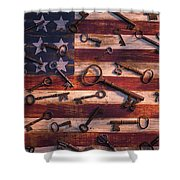 Old Keys On American Flag Shower Curtain