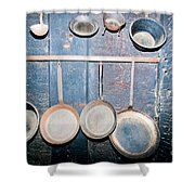 Old Kitchen Utensils On Soot-black Wall Shower Curtain