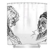 Old Lady With A Lady Shower Curtain