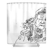 Old Lady Shower Curtain