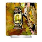 Old Lantern In Camo Shower Curtain