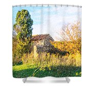 Old Little Stones House In Provence Shower Curtain