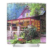 Old Log Cabin Home Shower Curtain