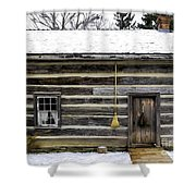 Old Log Home With A Broom Shower Curtain
