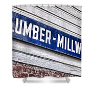 Old Lumberyard Sign Shower Curtain