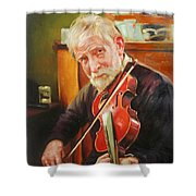 Old Man And Fiddle Shower Curtain