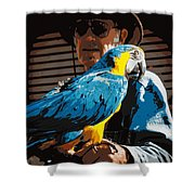 Old Man And His Bird Shower Curtain