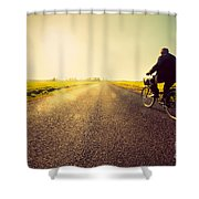 Old Man Riding A Bike To Sunny Sunset Sky Shower Curtain