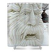 Old Man Winter Snow Sculpture Shower Curtain