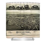 Old Map Of Decatur Texas 1890 Shower Curtain