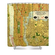 Old Map Of New York Central Railroad Manhattan Map 1918 Shower Curtain