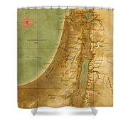 Old Map Of The Holy Land Shower Curtain