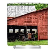 Old Massey Ferguson Red Tractor In Barn Shower Curtain