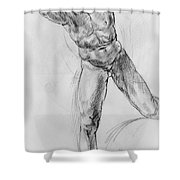 Old Masters Study Nude Man By Annibale Carracci Shower Curtain