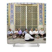 Old Men Socializing In Yazd Iran Shower Curtain