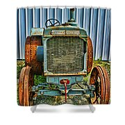 Old Metal Wheeled Tractor Hdr Shower Curtain