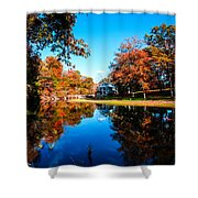 Old Mill House Pond In Autumn Fine Art Photograph Print With Vibrant Fall Colors Shower Curtain