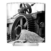 Old Mill Of Guilford Gears Black And White Shower Curtain