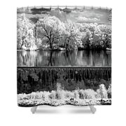 Old Mill Pond In Infrared Shower Curtain