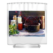 Old Miners Outdoor Kitchen Table Still Life Shower Curtain