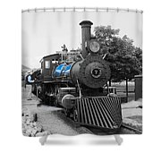 Old No. 7 Black White And Blue Shower Curtain