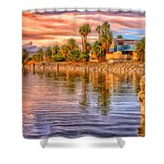 Old North Shore Yacht Club At Salton Sea Shower Curtain
