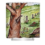 Old Oak Tree With Birds' Nest Shower Curtain