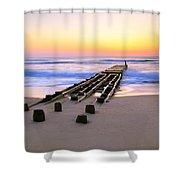 Old Ocean Pier At Dawn Shower Curtain