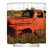 Old Orange Shower Curtain
