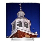 Old Otterbein Umc Moon And Bell Tower Shower Curtain