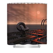 Old Pier And Sculptures Shower Curtain