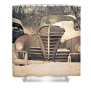 Old Plymouth Classic Car In The Snow Shower Curtain