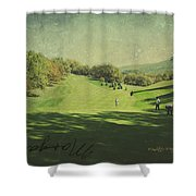 Old Postcard Of Golf Buddies At The Homestead Shower Curtain