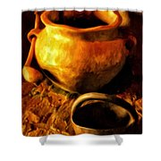 Old Pot And Ladle Shower Curtain
