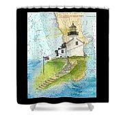 Old Pt Loma Lighthouse Ca Nautical Chart Map Art Cathy Peek Shower Curtain