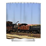Old Railroad Cars From The Series View Of An Old Railroad Shower Curtain