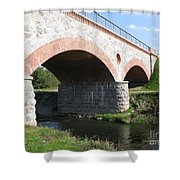 Old Railway Bridge In Silute. Lithuania. Summer Shower Curtain