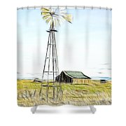 Old Ranch Windmill Shower Curtain