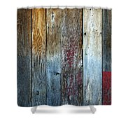 Old Reclaimed Wood - Rustic Red Painted Wall  Shower Curtain