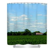 Old Red Barn And Fields Shower Curtain
